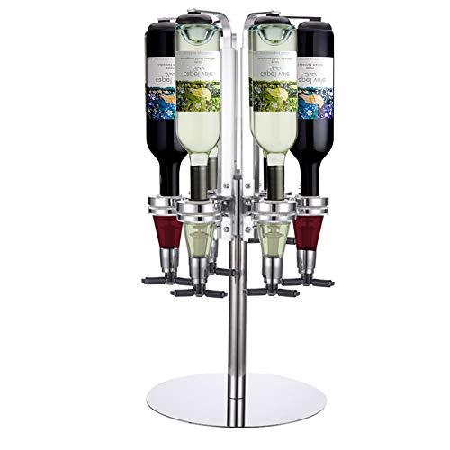 Warmiehomy Barbutler Flaschenhalter für 6 Flaschen Rotary Getränkeportionierer 4cl Getränkespender Flaschen Dosierer Drink Dispenser für Party Bar Zuhause Aluminum Silber