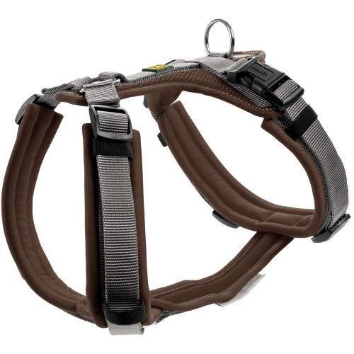 HUNTER Maldon Hundegeschirr,Y-Form, weich gepolstert, ideal für sportliche Aktivitäten Farbe braun/grau, Größe M-L