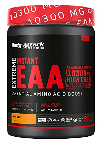 Body Attack Extreme Instant EAA Powder - 500g, extremadamente sabroso, instantáneamente soluble, vegano, 8 aminoácidos esenciales altamente dosificados - 10300mg EAA por batido, Naranja