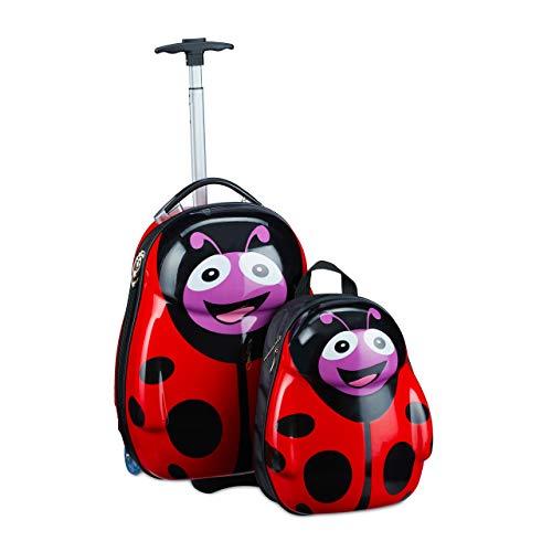 Relaxdays Maleta infantil con mochila, diseño de mariquita, para niñas y niños, rígida, set de viaje para niños, 46 x 30 x 25 cm, color rojo