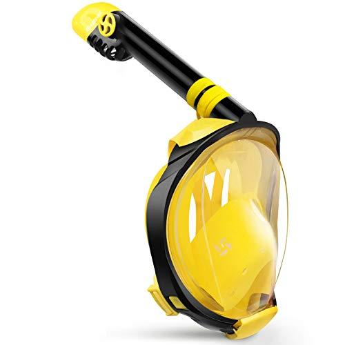 Greatever Máscara de Buceo Snorkel Esnórquel Integral Plegable Anti-Vaho Anti-Fuga Gafas Cara Completa 180 ° Vista panorámica Apoyo Camara Deportiva para Unisex-Adultos