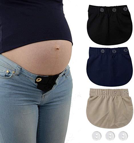 KANGYH 3 Packung Schwanger Hosenerweiterung Einstellbare Taillen Verlängerung Schwangerschaft Bund Extender Elastisch Schwangerschaft Hosen Extender für Schwangere, 3 Farben