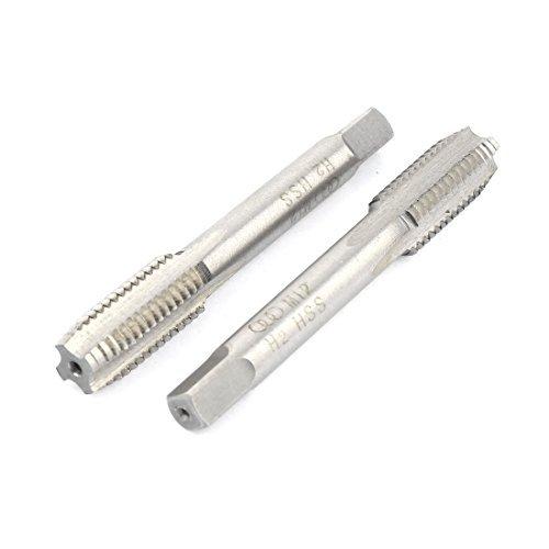 DealMux 2pcs aço de alta velocidade 4 flautas H2 M12 rosca métrica Taper Cachimbo Mão Tap