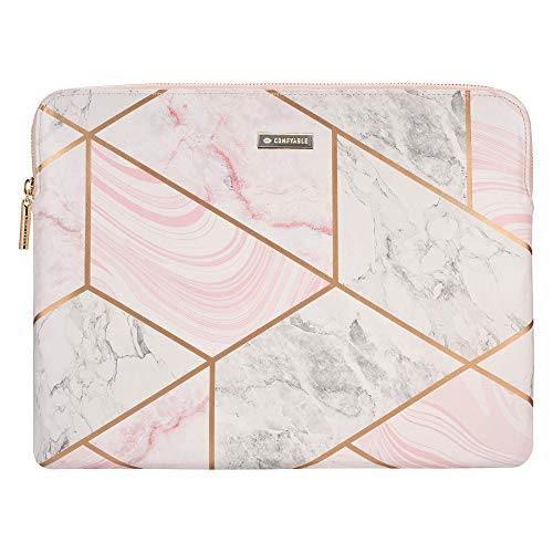 Comfyable Tablet Sleeve for iPad Pro 12.9 inch M1 2021 2020 & Smart/Magic Keyboard with Pencil Holder - PU Leather Bag Waterproof Slim Protective Cover Case - Geometric Marble