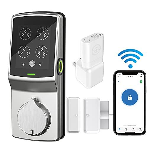 Lockly Secure Pro | Bluetooth Fingerprint WiFi Keyless Entry Smart Door Lock (PGD 728W) Patented Keypad | 3D Fingerprint Reader | iOS and Android Compatible (Dead Bolt, Satin Nickel)