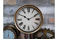 Casadomu Steampunk Clock Industrial Pipe Wall Hanging Large Rustic Cogs Decor Timepiece #4