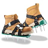 WDERNI Lawn Aerator Shoes, [2021 New Version] Lawn Aerator Sandal with 3 Adjustable Straps and Heavy Duty Metal Buckles, One Size Fits All - Heavy Duty Spiked Sandals for Aerating Your Lawn or Yard