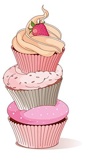 Wandtattoo Küche Cupcake Turm mit Erdbeere Wandsticker Esszimmer Früchte Deko