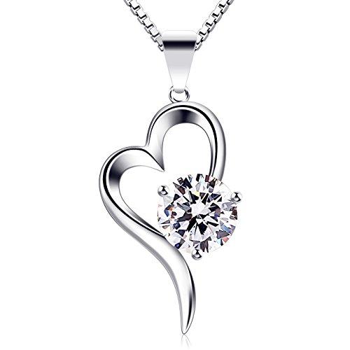 B.Catcher Herz Halskette Damen 925 Sterling Silber Anhänger Zirkonia Schmuck 45CM Kettenlänge Geschenk für Damen
