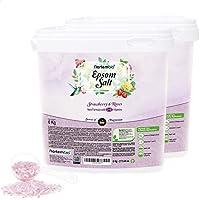Nortembio Sal de Epsom 2x6 Kg. Novedosa Fragancia de Fresa y Rosas. Hidratada con Vitamina C y E. Sales de Baño y...