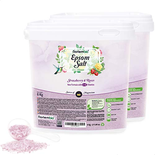 Nortembio Sal de Epsom 2x6 Kg. Novedosa Fragancia de Fresa y Rosas. Hidratada con Vitamina C y E. Sales de Baño y Cuidado Personal. E-Book incluido.