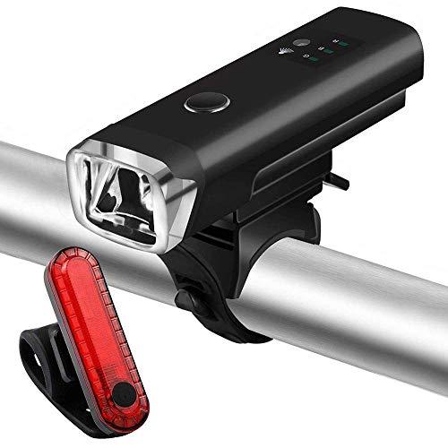 Lichtgevoelige koplampen, achterlicht voor fiets, USB, LED, fiets, uitrusting, zwart wzmdd
