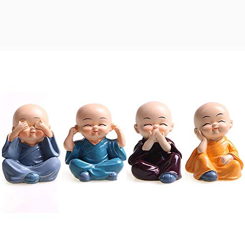 4PCS Cute Kongfu Monk Car Interior Display Decoration Car Dashboard Ornament Monks Figurine Statue Car Home Decor (B)