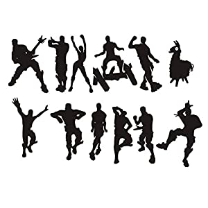 LHKSER Video Gamer Wall Decor Peel & Stick Poster Decals Floss Dancing Game Nursery Kids Room Game Stickers (Black)