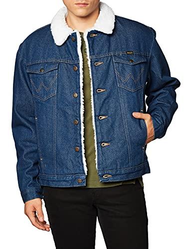 Wrangler mens Western Style Lined denim jackets, Denim/Sherpa, Large US