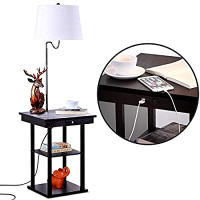 Brightech Madison LED Floor Lamp Swing Arm Lamp w/Shade & Built In End Table & Shelf, Includes 2 USB Ports & 1 US Electric Outlet ? Bedside Table Lamp for Bedroom & Side Table Lamp for Living Room