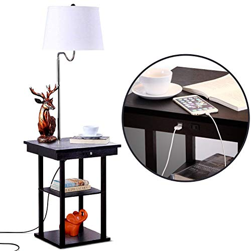Bedside/End Table with Floor Lamp & USB Combination