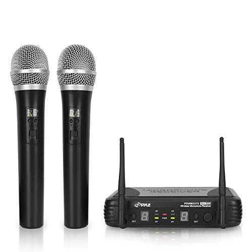 Pyle Professional Wireless Handheld Microphone System - Dual UHF Band, Wireless, Handheld, 2 MICS w/ 8 Selectable Frequency Channels, Independent Volume Controls, AF & RF Signal Indicators