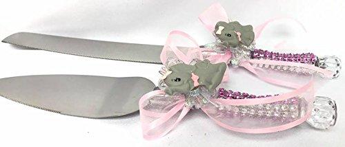 Baby Shower Elephant Theme Cake Knife Server Set It's a Girl Butterfly Design Cake Knife