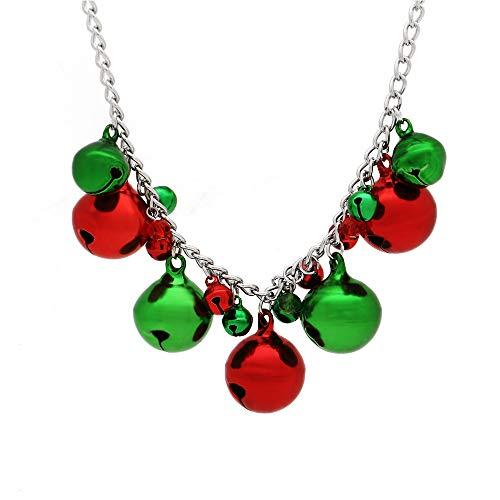 Christmas Jingle Bell Necklace X-Mas Holiday Cute Necklace for Women Girls, Handmade Festival Christmas Jewelry Gift
