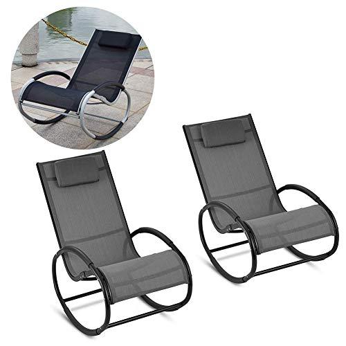 Dalovy Gartenliege Bequemer Schaukelstuhl Bequemer Freizeitschaukelstuhl Wohnzimmer Sofa Lounge Chair Gepolsterter Sitzsessel Multifunktionaler Freizeitschaukelstuhl (Schwarzes 2Er-Set)