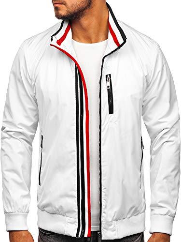 BOLF Herren Sportjacke Übergangsjacke Stehkragen Freizeitjacke Reißverschluss Street Style K01 Weiß M [4D4]