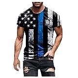 XUEbing Camisas para hombre del 4 de julio de las banderas americanas camisa de los hombres del día de la independencia camiseta retro de ajuste holgado manga corta