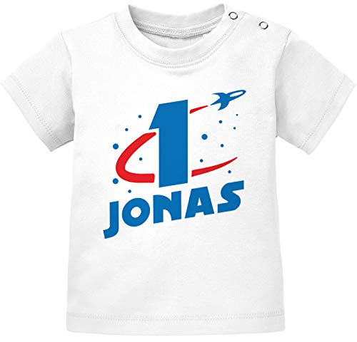 MoonWorks® Baby T-Shirt 1. Geburtstag personalisiert Name erster Geburtstag Zahl 1 Rakete...