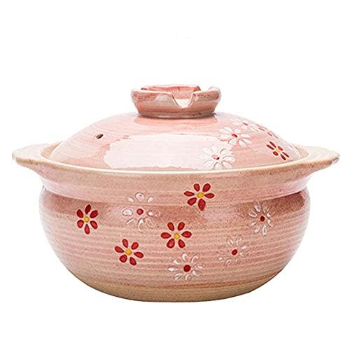 Plato para cazuela Platos para cazuela con Tapas - Cazuela de Estilo japonés Sakura Sopa para el hogar Olla de Barro Olla para estofado de arroz Olla para estofado de arroz 2.8L Utensilios de Cocina