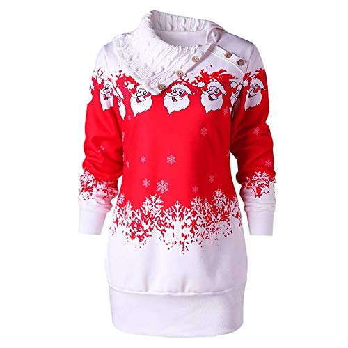 Higlles Weihnachten Hoodie Pullover Damen Herbst Winter Langarm Plaid Kapuzenpullover...