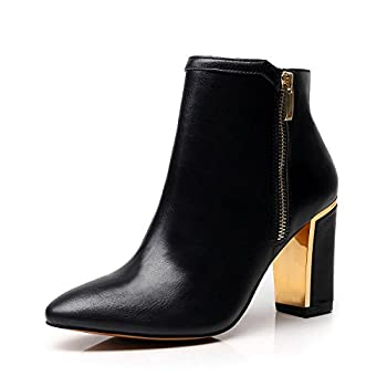 DUNION Women¡¯s Armony Fashion Daily Boot Dress Wedding Party Wearing Stylish Shiny Chunky Heel Ankle Booties,Black,8.5 M US