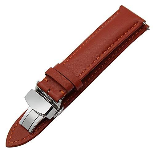 YWSZY Uhrenarmband Edelstahl Mesh Faltschließe Met 18mm 20mm 22mm Echtes Leder Uhrenarmband-Schnellspann-Bügel-Universal-Armband Faltschließe Handgelenk-Gurt-Armband