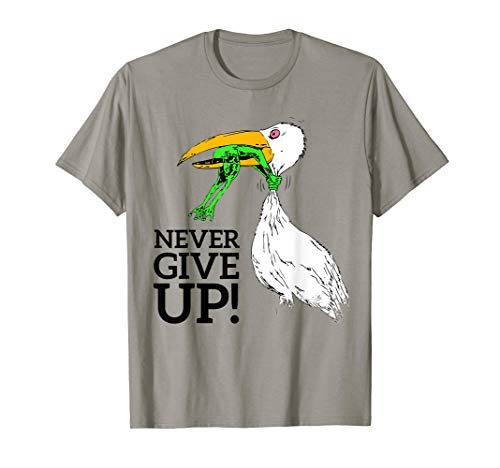 T-shirt never give up stork and frog T-Shirt