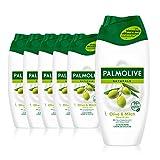 Palmolive Duschgel Naturals Olive & Milch 6 x 250 ml - Cremedusche mit Extrakten von Olive & Milch,...