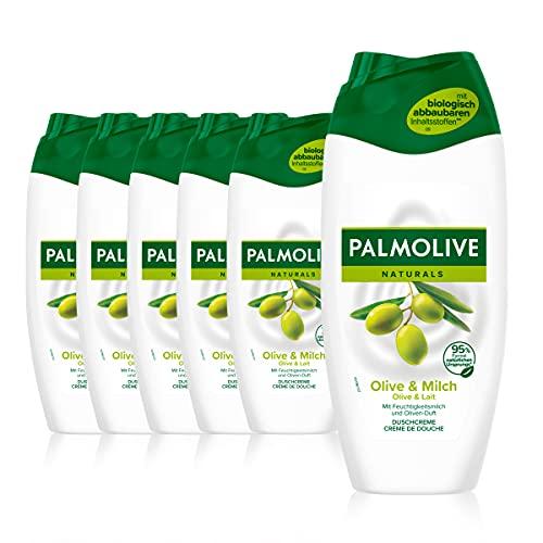 Palmolive Duschgel Naturals Olive & Milch 6 x 250 ml - Cremedusche mit Extrakten von Olive & Milch, geeignet für jeden Hauttyp