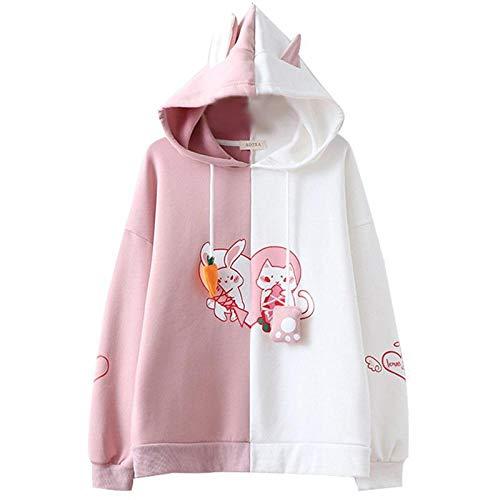 Sudaderas Mujer Sudadera con Capucha Kawaii con Orejas De Conejo para Mujer Bonita Sudadera con Gato Y Conejo Sudadera Harajuku Suave para Niñas Pulóver Rosa De Anime Chándal Negro Pink One Size