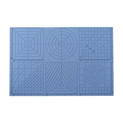 N / A 3D Stifte Silikonmatte,Geeignet für alle Arten von 3D-Stiften,mit Basisvorlagen für Kind und Anfänger und 2 Fingerbetten,Beste Werkzeuge Für 3D-Anfänger/Kinder 03-Blau