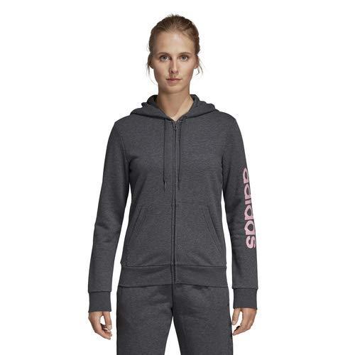adidas Mujer Essentials Linear Sudadera con cremallera completa, Gris Oscuro Jaspeado/Rosa Verdadero, Grande