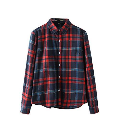 Camicia A Quadri Nuova Autunno E Inverno Camicia Donna in Cotone A Maniche Lunghe Plus Size Giacca alla Moda Ampia E Versatile
