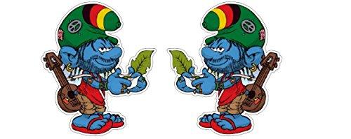 Funky Hippie Rasta Schlumpff Cannabis Weed Marijuana smoking Peace Aufkleber Sticker + Gratis Schlüsselringanhänger aus Kokosnuss-Schale + Auto Motorrad Helm Laptop Windows Racing Tuning
