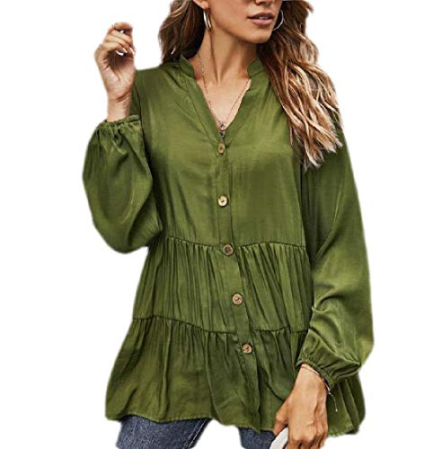 Yisism Womens Tops Solid Color Casual Button Down V Neck Peplum Long Sleeve Shirts...