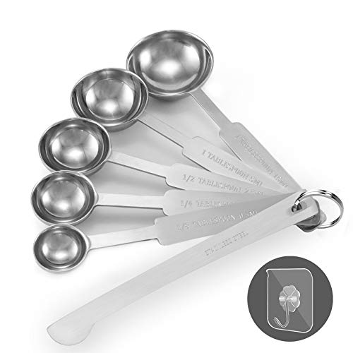 Measuring Spoons, Premium Stainless Steel Measuring Spoon, Set of 6 Stainless Steel Metal Measure Cup Spoons for Baking, Liquid and Solid