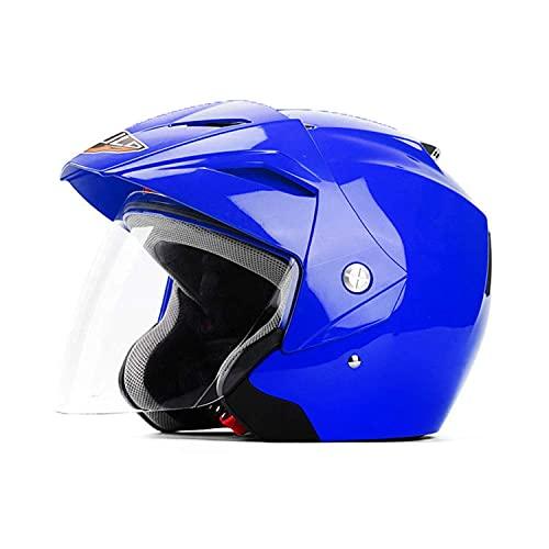 ouruanyang 3/4 Casco Abierto, Cascos de Moto Retro Medio Casco Casco Jet Bobber Chopper Crash Casco Certificación Dot con Gafas Visera Solar D, L = 55-60cm