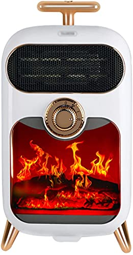 FSADGNO Mini Calentador de Ventilador de Uso Interior de cerámica de Escritorio de Chimenea eléctrica(Color:White,Size:)