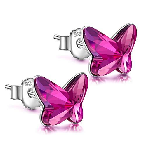 ANGEL NINA Pendientes Mujer Plata de Ley 925 Pendientes Mujer Antialergicos con Cristal de Austria Pendientes Niña Mariposa Regalos Para Mujer Niñas Novia