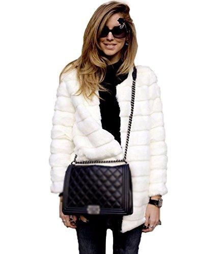YiLianDa Chaqueta Corta de Piel Faux Abrigo con Manga Larga para Mujer de Invierno Blanco M