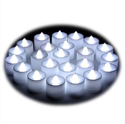 Lot de 24pcs Bougies LED à Piles sans Flamme, Réaliste et Bright, LED Lumières de Thé - Fausses Bougies électriques pour Votive, Table Party Anniversaire Mariage Noël Arbre de noël Blanc