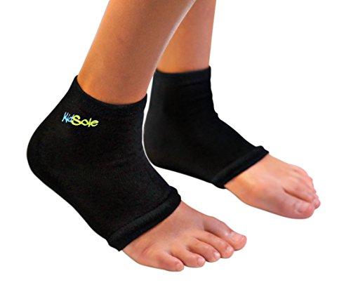 KidSole RX Gel Sports Sock for Kids with Heel Sensitivity from Severs Disease, Plantar Fasciitis. US Kid s Sizes 2-7 (Black)