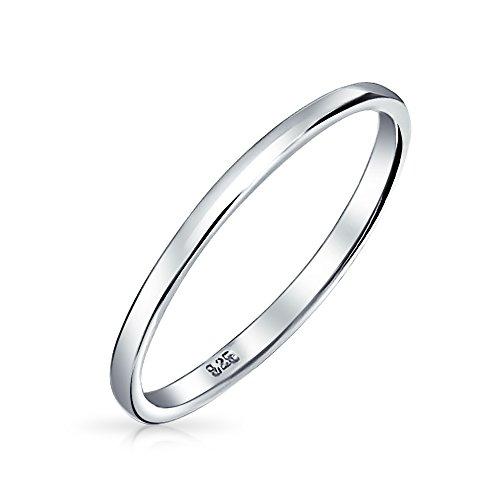 Simple minimalista delgado apilable 925 plata esterlina parejas alianzas anillo de la banda de boda para los hombres para las mujeres 2MM