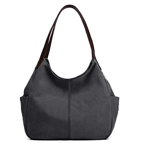 Hiigoo Women's Canvas Totes Bag Shoulder Bag Handbags Messenger Bag Big Shopping Bags (Black)